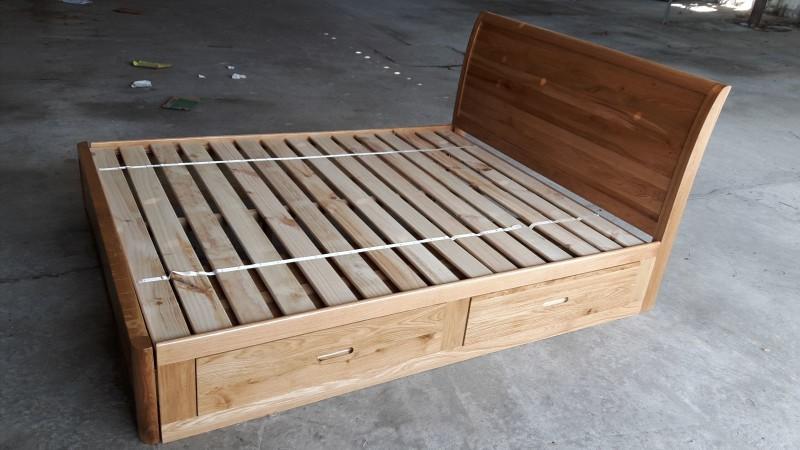 Giường ngủ gỗ Sồi Mỹ có hộc tủ