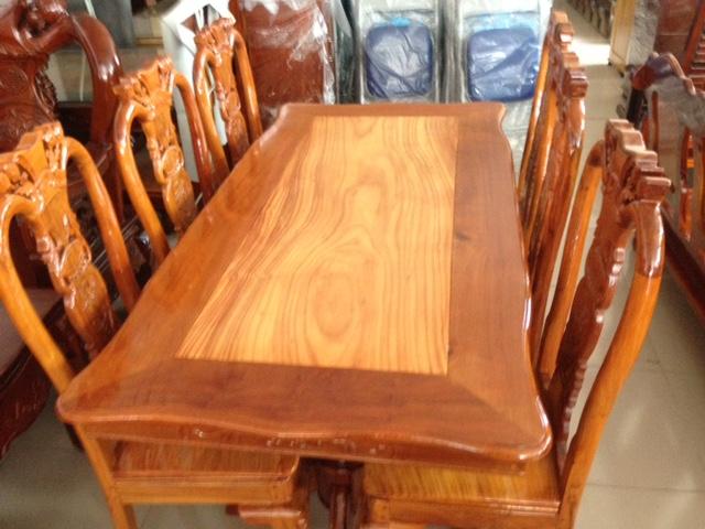 Bộ bàn ăn Căm Xe mặt Gõ Đỏ 6 ghế đẹp