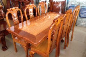 Bộ bàn ăn Căm Xe mặt Gõ Đỏ 6 ghế