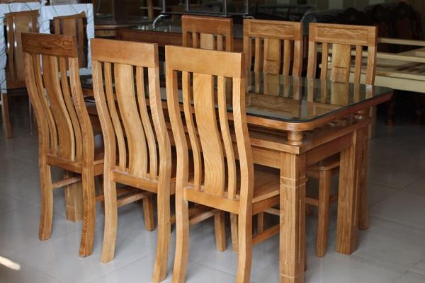 Bộ bàn ăn gỗ Sồi Nga 2 tầng 6 ghế 4