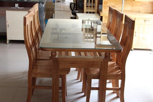 Bộ bàn ăn gỗ Sồi Nga 2 tầng 6 ghế 5