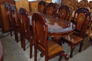 Bộ bàn ăn gỗ Xoan 8 ghế