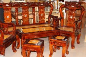 Bộ Salon gỗ Tràm mặt Gõ tay 8 3