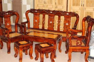 Bộ Salon gỗ Tràm mặt Gõ tay 8
