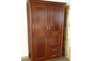 Tủ quần áo gỗ Xoan 2 cánh 1M2 màu nâu