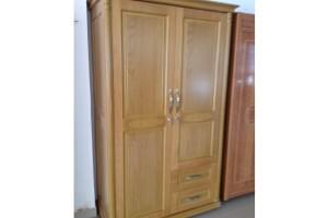 Tủ quần áo gỗ Xoan 2 cánh 1M2 màu vàng