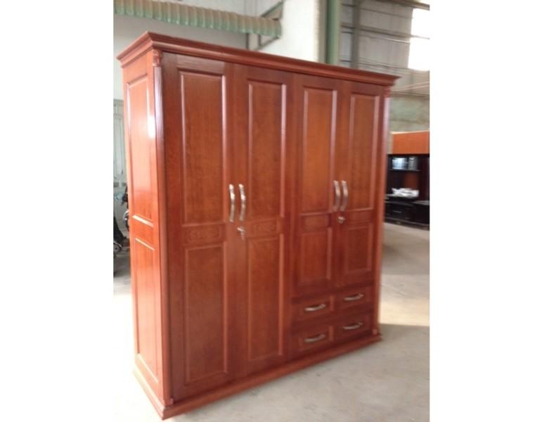 Tủ quần áo gỗ Xoan 4 cánh 1M8