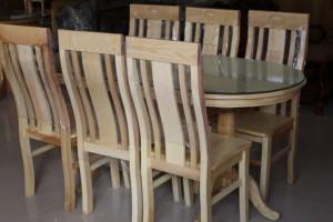 Bàn ăn SỒI oval 6 ghế