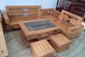 Bộ Salon góc gỗ Sồi