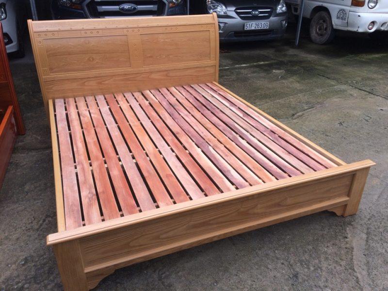 Giường ngủ gỗ ghép phủ Sồi