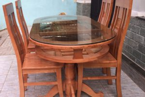 Bàn ăn Oval gỗ Sồi Nga 2 tầng 1