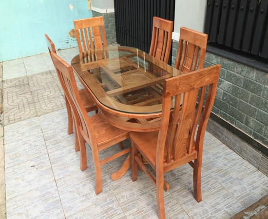Bàn ăn Oval gỗ Sồi Nga 2 tầng