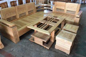 Bộ Salon gỗ Sồi góc SLGSG