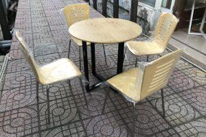 Ghế lưng gỗ chân inox 2