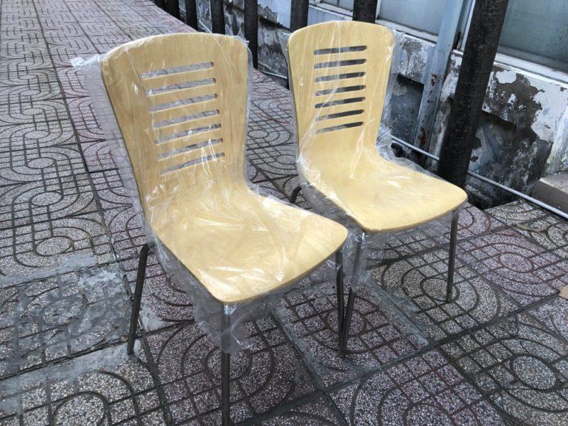 Ghế lưng gỗ chân inox