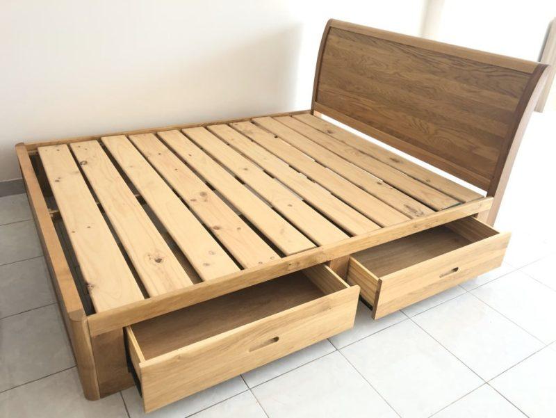 Giường gỗ Sồi Mỹ có ngăn kéo 1